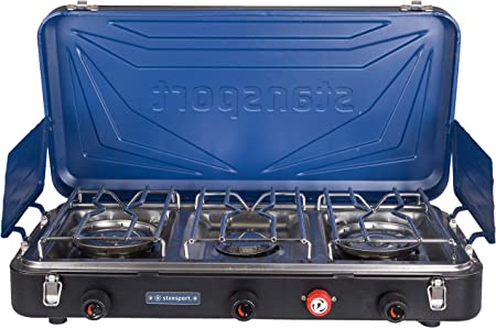 This best camping stove photo shows the Stansport Outfitter Series Propane Camp Stove for Camping and Outdoor Cooking.