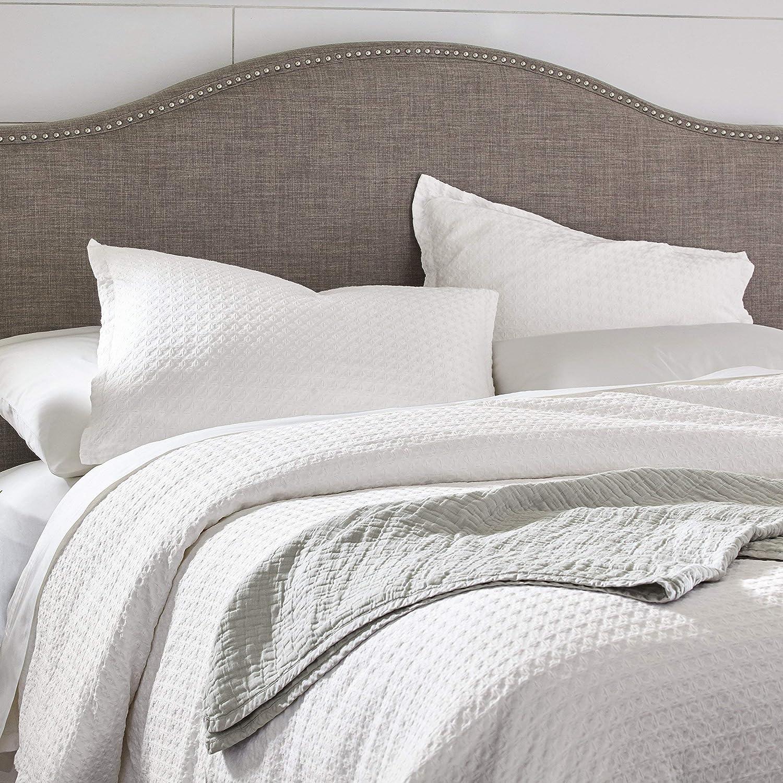 Stone /& Beam 100/% Cotton Soft Waffle Texture Transitional Gemma Full//Queen Duvet Cover Set White 90 x 90