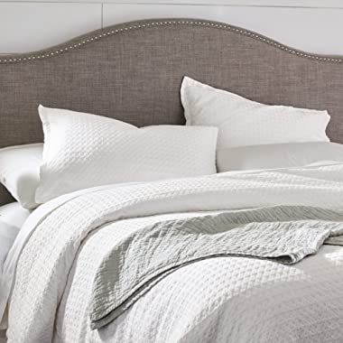 Stone & Beam 100% Cotton Soft Waffle Texture Transitional Gemma Duvet Cover Set, 104  x 90 , King, White