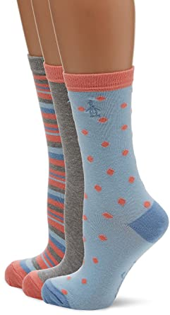 Womens Lshpe411 Socks, Pink (Coral), One Size (Manufacturer Size: 4 to 8) pack of 3 Original Penguin