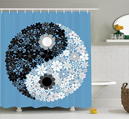 Ambesonne Ying Yang Decor Shower Curtain Set Abstract Design Daisy Flower Power On Asian Tao