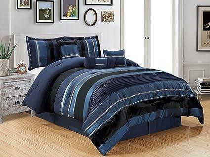 Amazon Com 7 Piece Navy Blue Black Silver Stripe Chenille Comforter