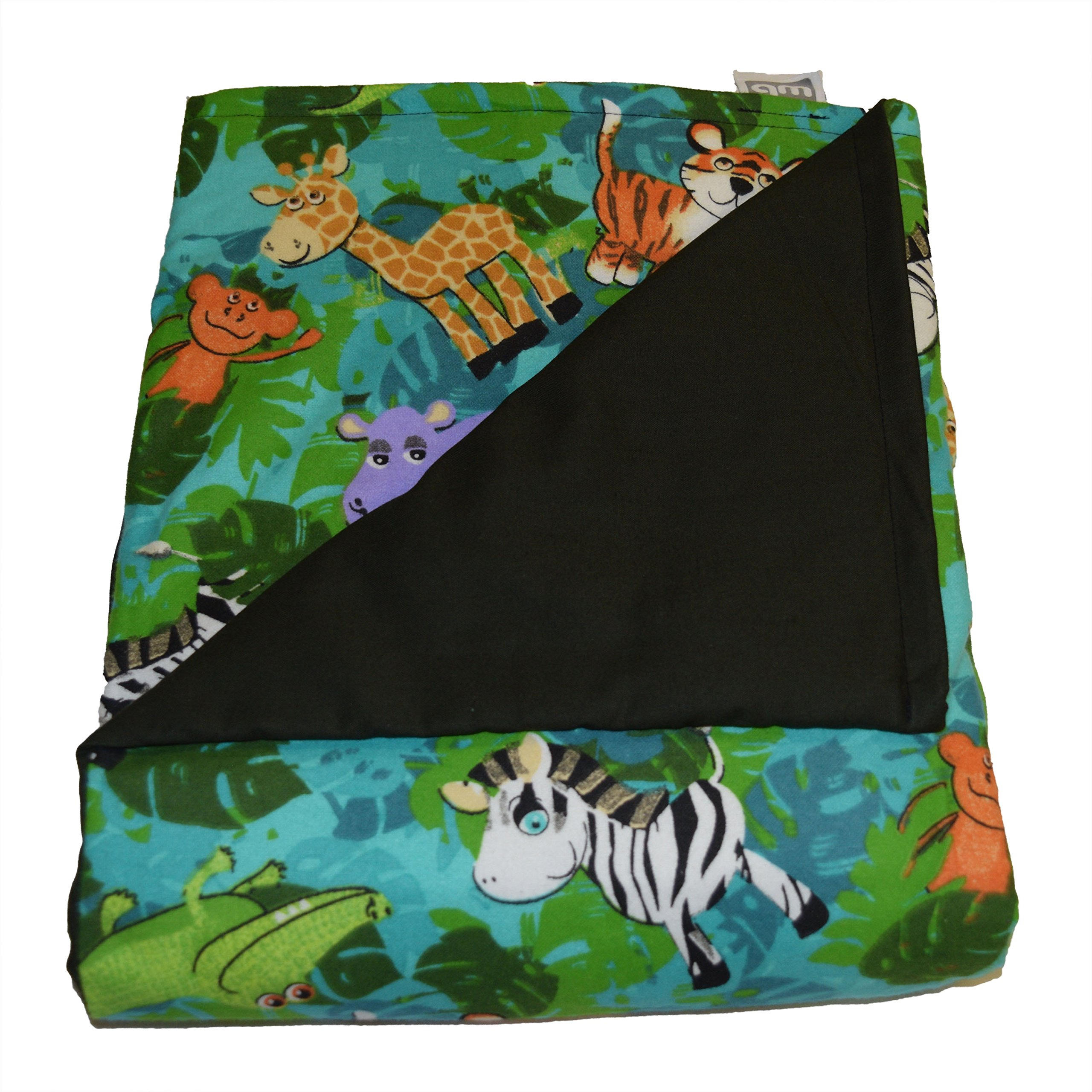 WEIGHTED BLANKETS PLUS LLC - MADE IN AMERICA - CHILD DELUXE SMALL WEIGHTED BLANKET - JUNGLE - COTTON/FLANNEL (52'' L x 40'' W) 6lb MEDIUM PRESSURE.