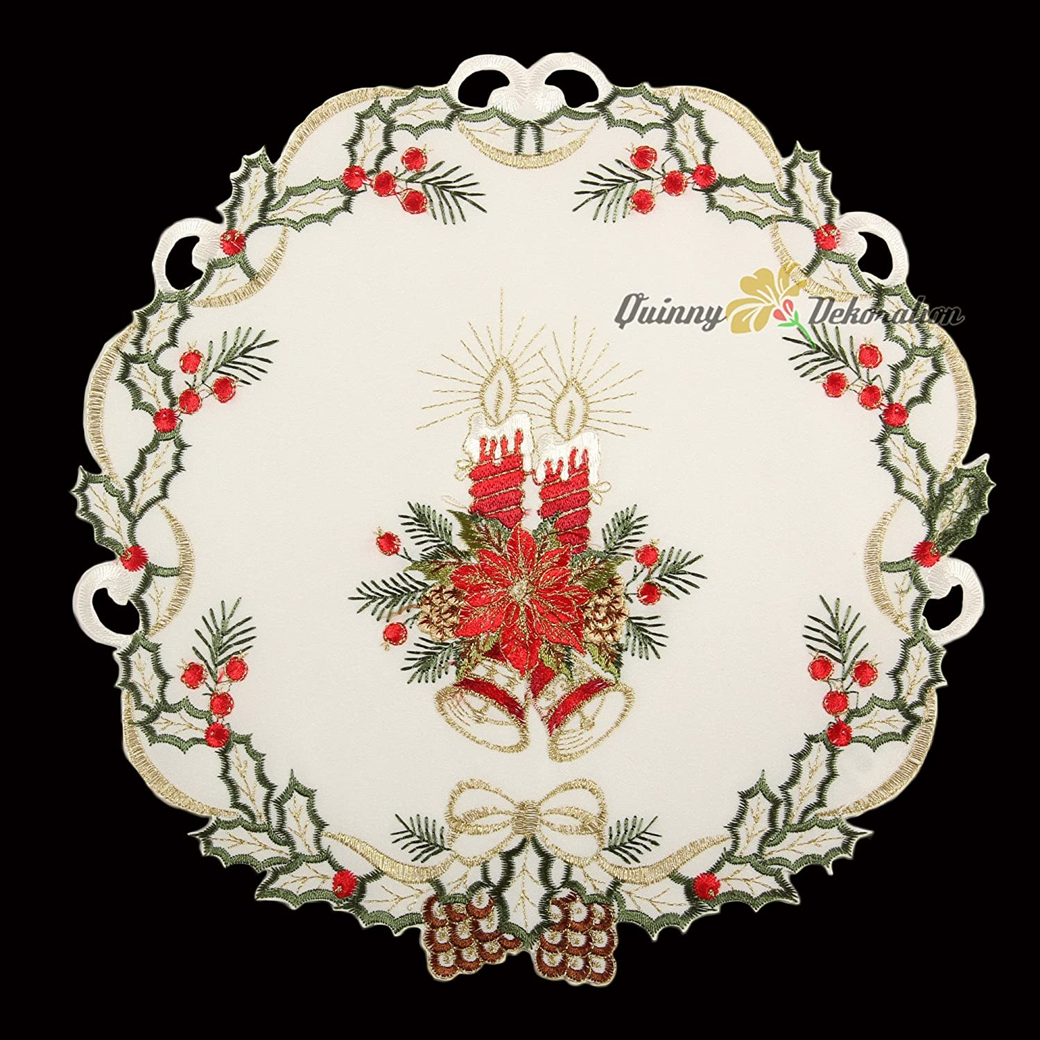 Christmas Candles Bells Poinsettia Flowers 9-Inch-by-15-Inch 22 x 37 cm Polyester White//Ecru Quinnyshop Embroidred Placemats