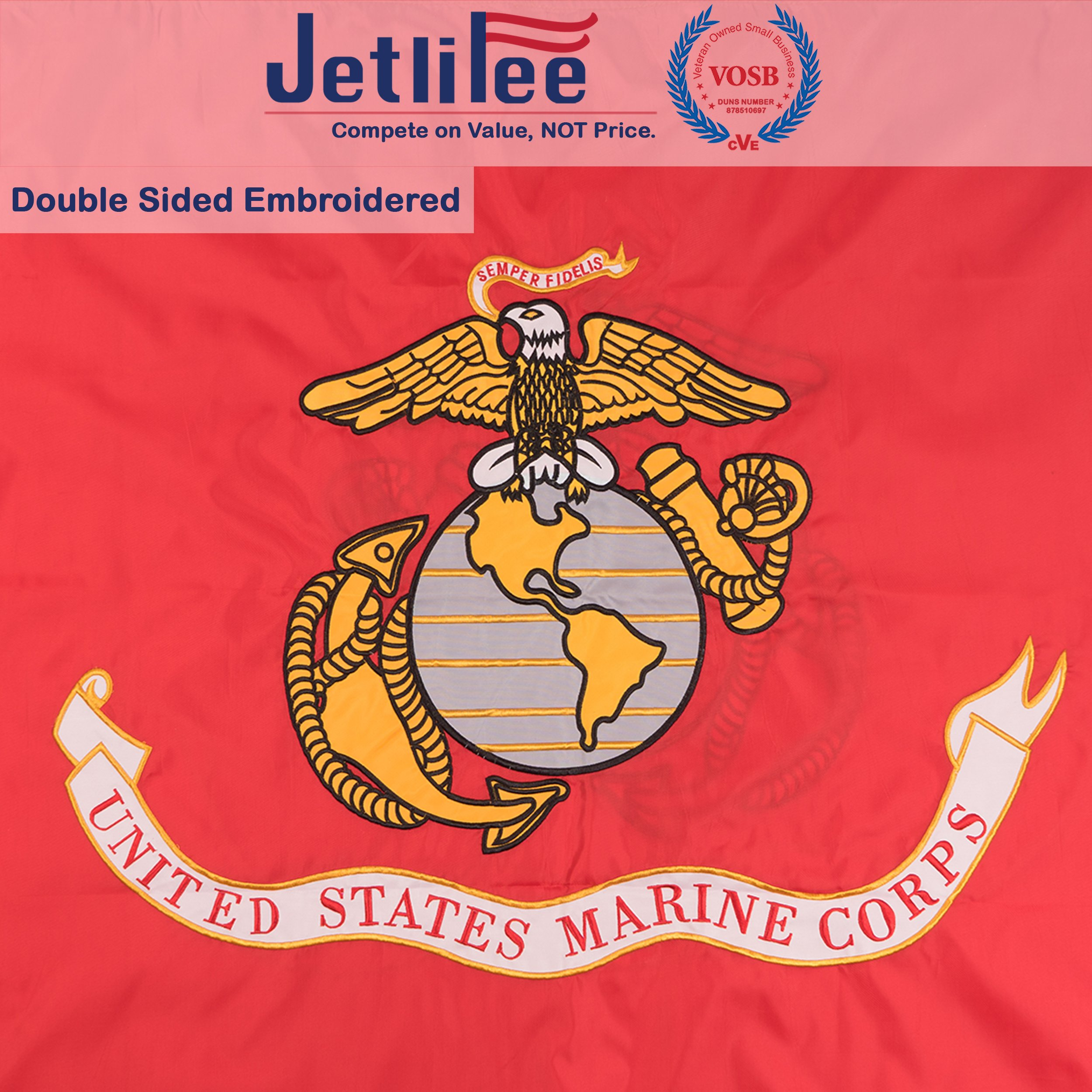 Jetlifee USMC 3x5 Ft Double Sided Flag by Veteran Owned Biz. Heavy Duty Nylon Embroidered With Brass Grommets U.S. Marine Corps Military Flag 3 x 5 Foot All Weather UV Protected USMC Decorative Flags