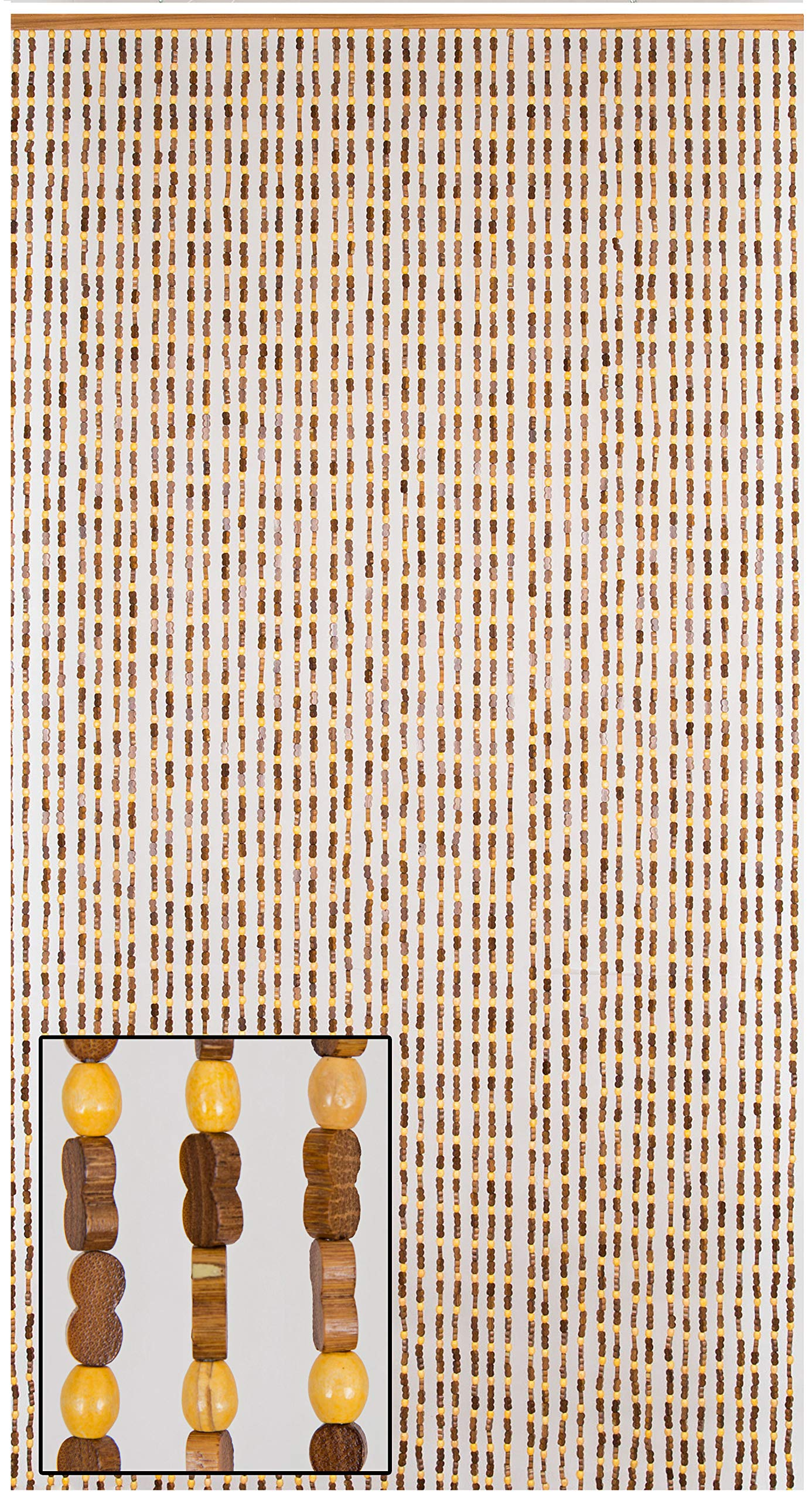 BeadedString Natural Wood and Bamboo Beaded Curtain-45 Strands-77 High-Plain Design-Bamboo and Wooden Doorway Beads-Boho Bohemian Curtain-35.5'' W x 77'' H-SunshineBr by BeadedString (Image #1)