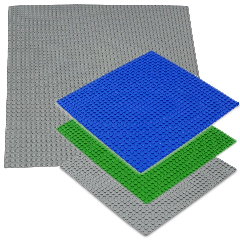 Katara 1672 - Bauplatte 2er Set 40cm x 40cm/50 x 50 Pins, Kompatibel Lego, Sluban, Papimax, Q-Bricks, Blau 1672-068