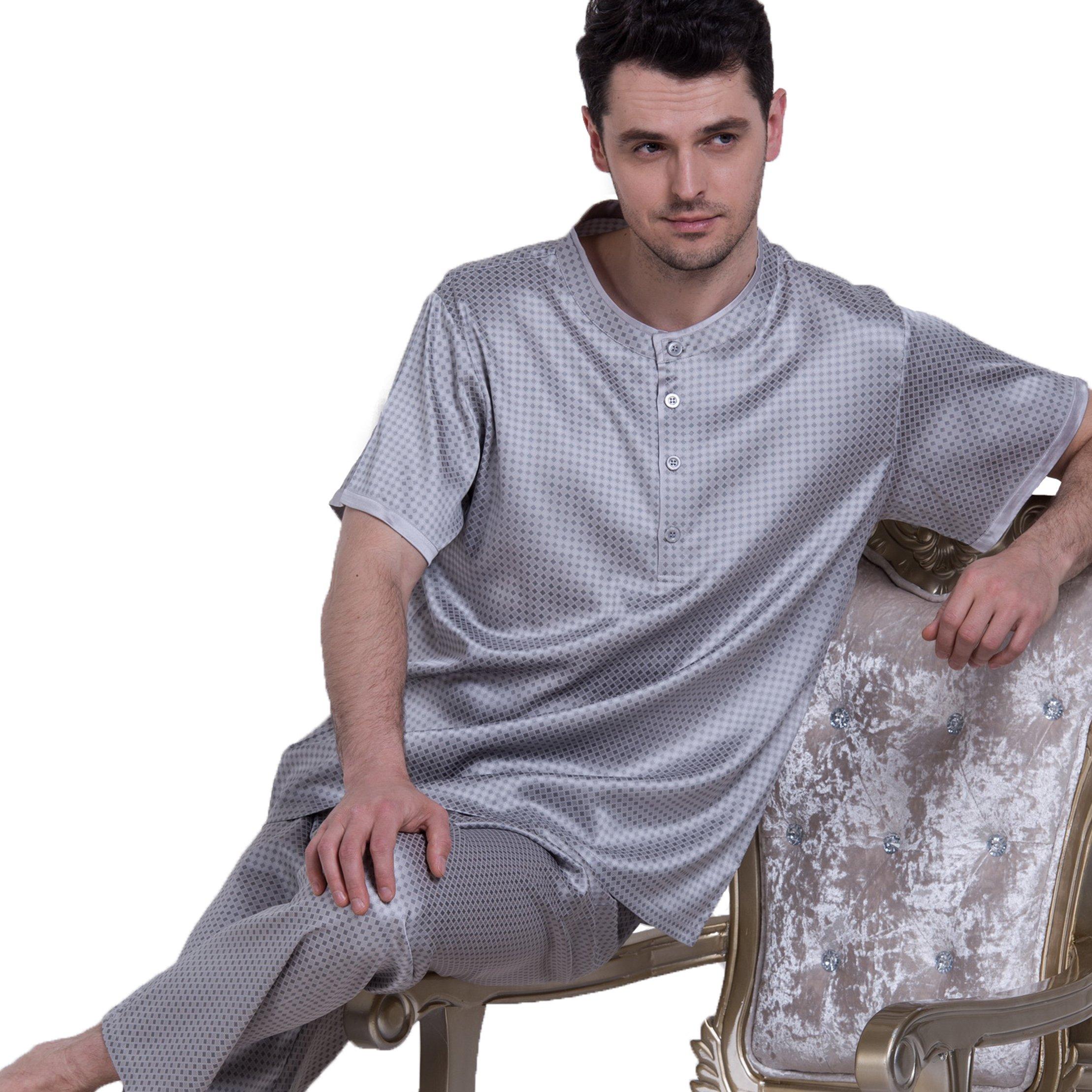 Chesslyre Summer Elastic Mulberry Silk Satin Sleepwear Men's Pullover Silk Pajama Sets