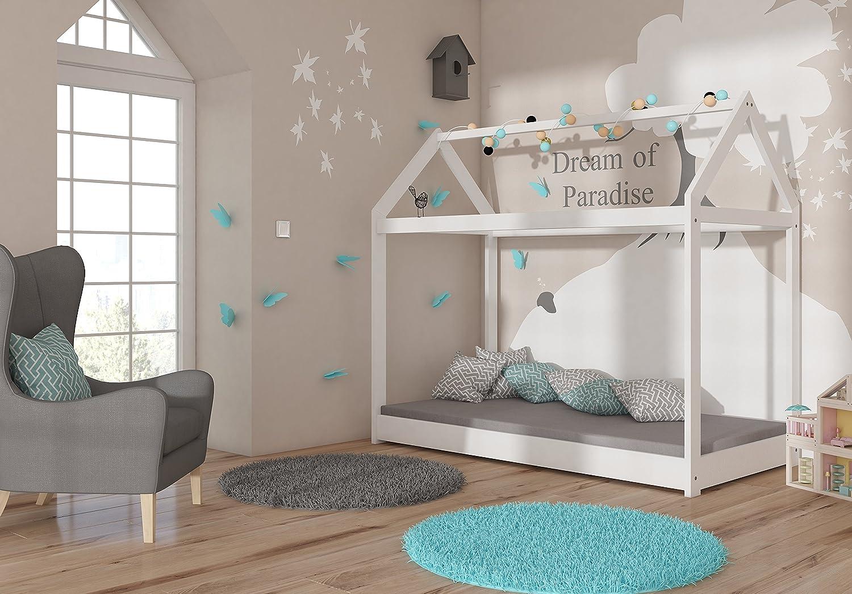 ACMA Kinderbett Kinderhaus Kinder Bett Holz Haus Schlafen Spielbett Hausbett Wei/ß Massivholz 180x80