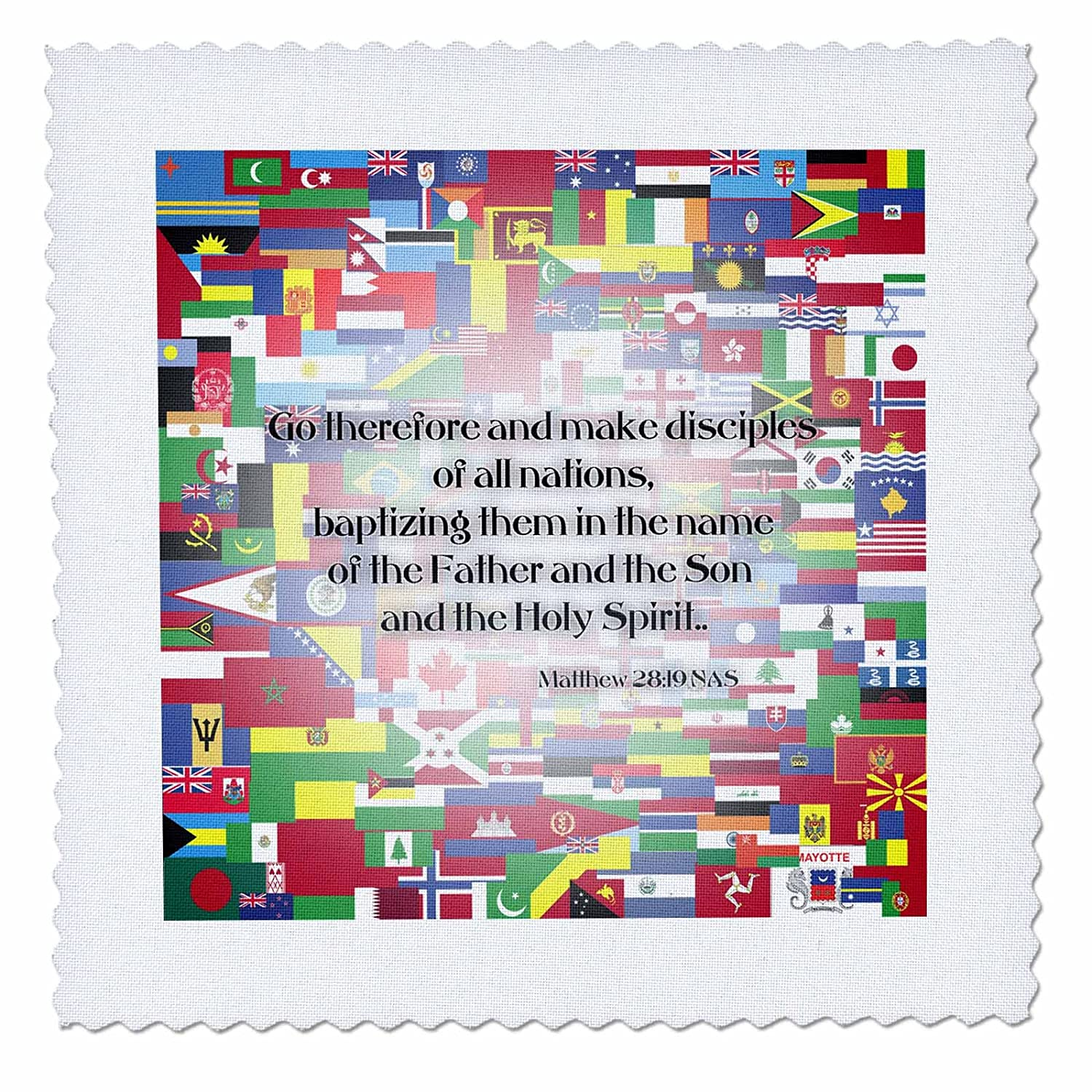 (30cm x 30cm quilt square) - 777images Designs Graphic Design Bible Verse - Matthew 28v19 Go forth and make disciples of all nations - Quilt Squares 12 by 12\  B00I84S2PU