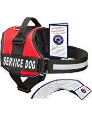Industrial Puppy Service Dog Harness with Hook and Loop Straps and Handle   Available in 7 Sizes from XXS to XXL   Vest Features Reflective Patch and Comfortable Mesh Design