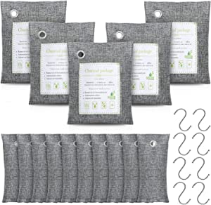 Bamboo Charcoal Air Purifying Bag, Natural Air Purifying Bag, Activated Charcoal Odor Eliminators, Odor Eliminating Charcoal Bags 15-Pack(5x200g, 10x50g) with 8 Hooks by 1Easylife