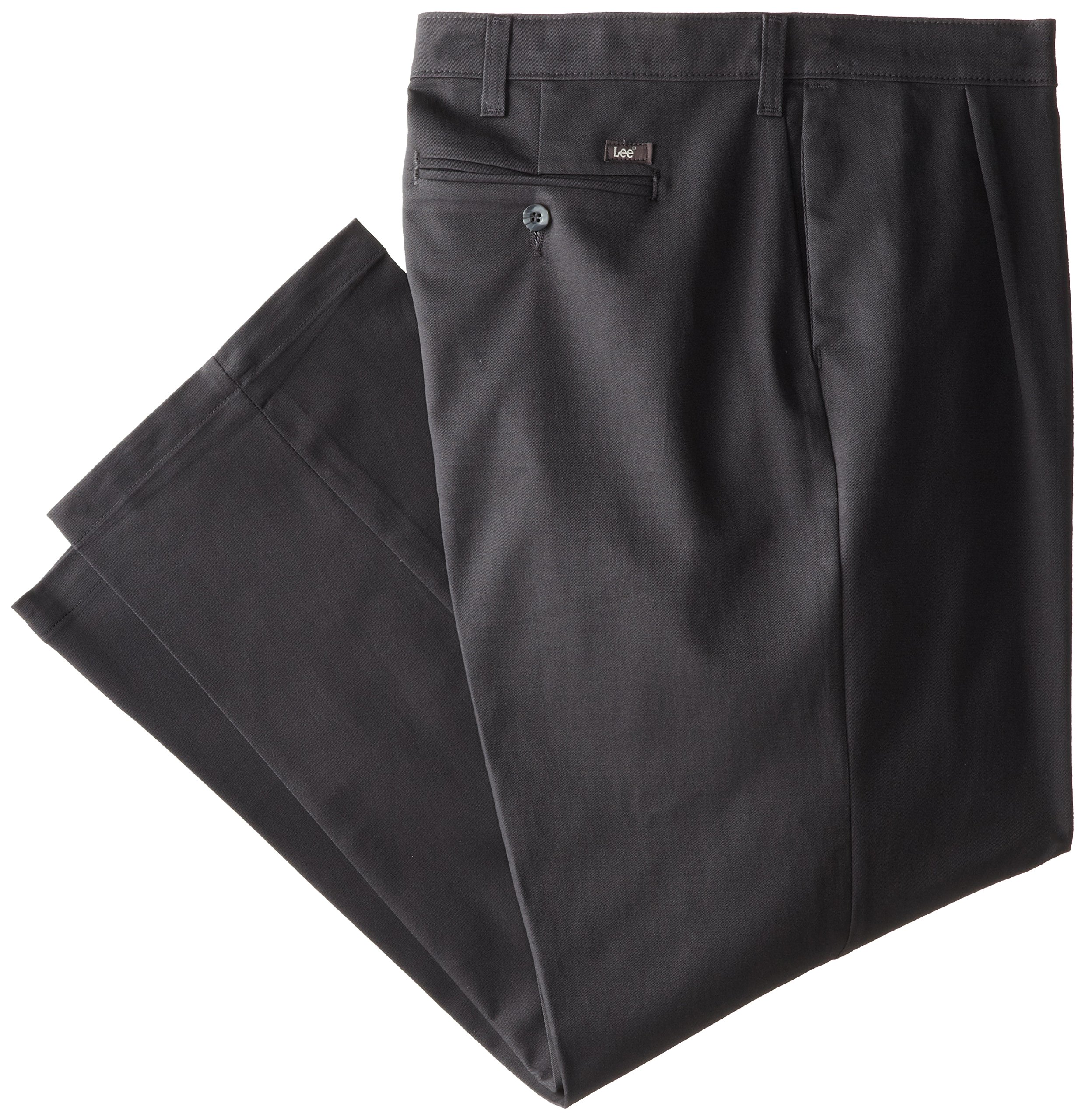 Lee Men's Big-Tall Comfort Waist Custom Fit Pleated Pant, Charcoal, 54W x 32L by LEE