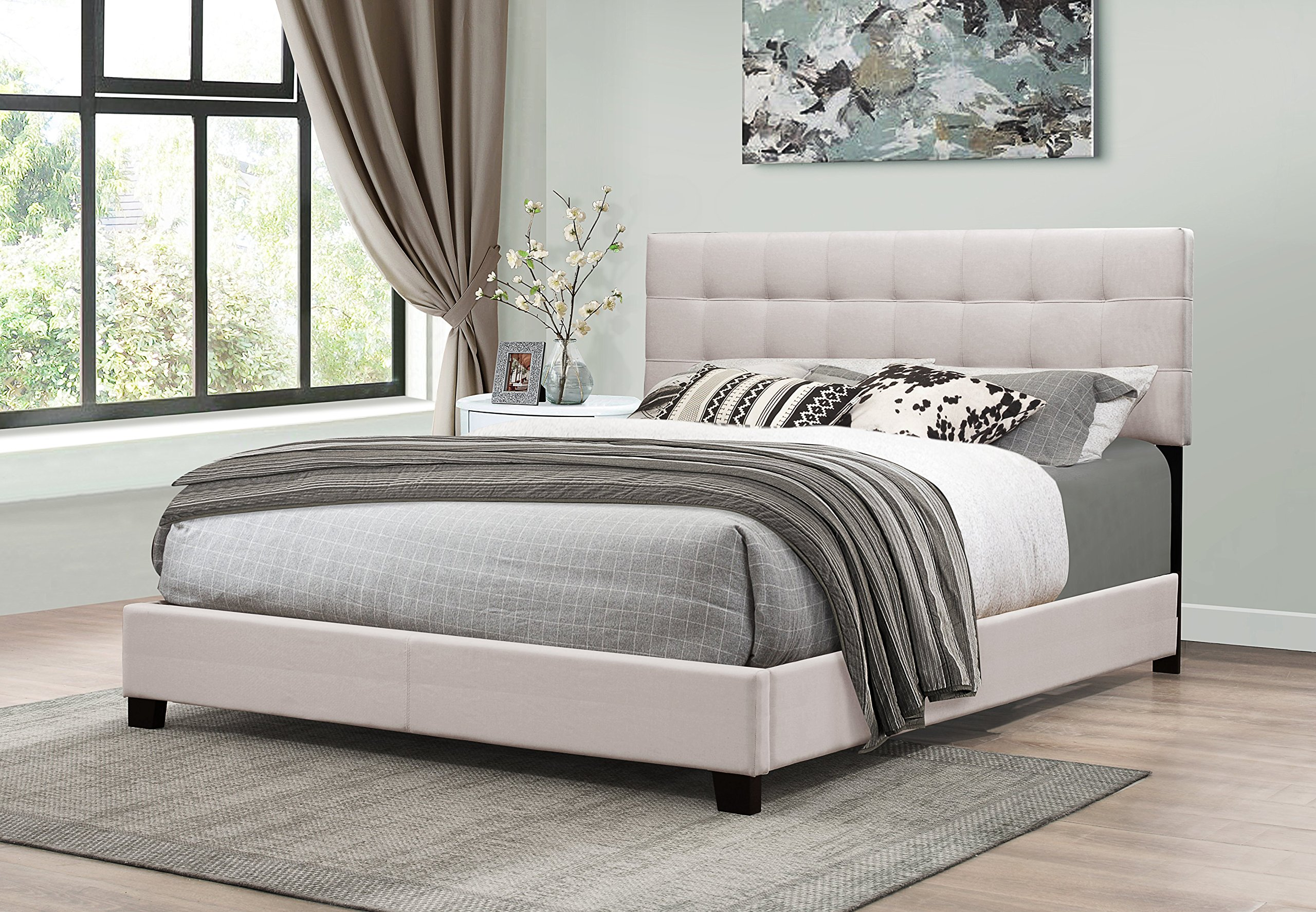 Furniture World B0261-F-H Henri Classic Tufted Upholstered Headboard, Full, Cream (Footboard and Side Rails Sold Separately)