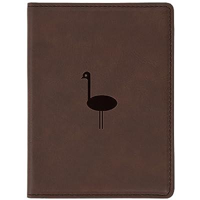 "Emu Brown Leather Passport Holder - Laser Etched Design - 4 X 5.5"" Engraved Passport Holder For Women And Men"