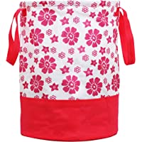 Kuber Industries Flower Printed Waterproof Canvas Laundry Bag, Toy Storage, Laundry Basket Organizer 45 L (Pink) CTKTC034621