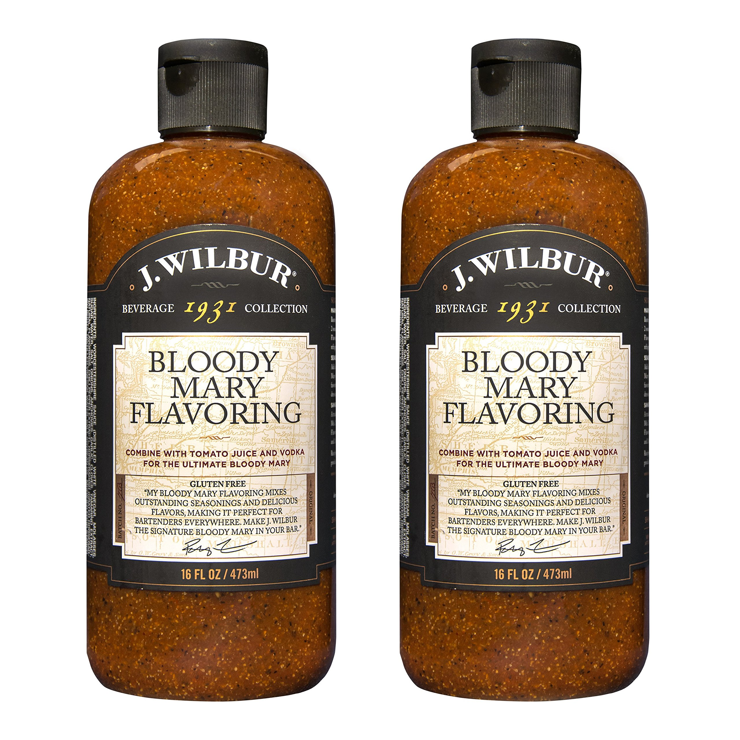 J. Wilbur Bloody Mary Mix 2 Pack (128 beverages) - All Natural, Gluten-Free, No MSG