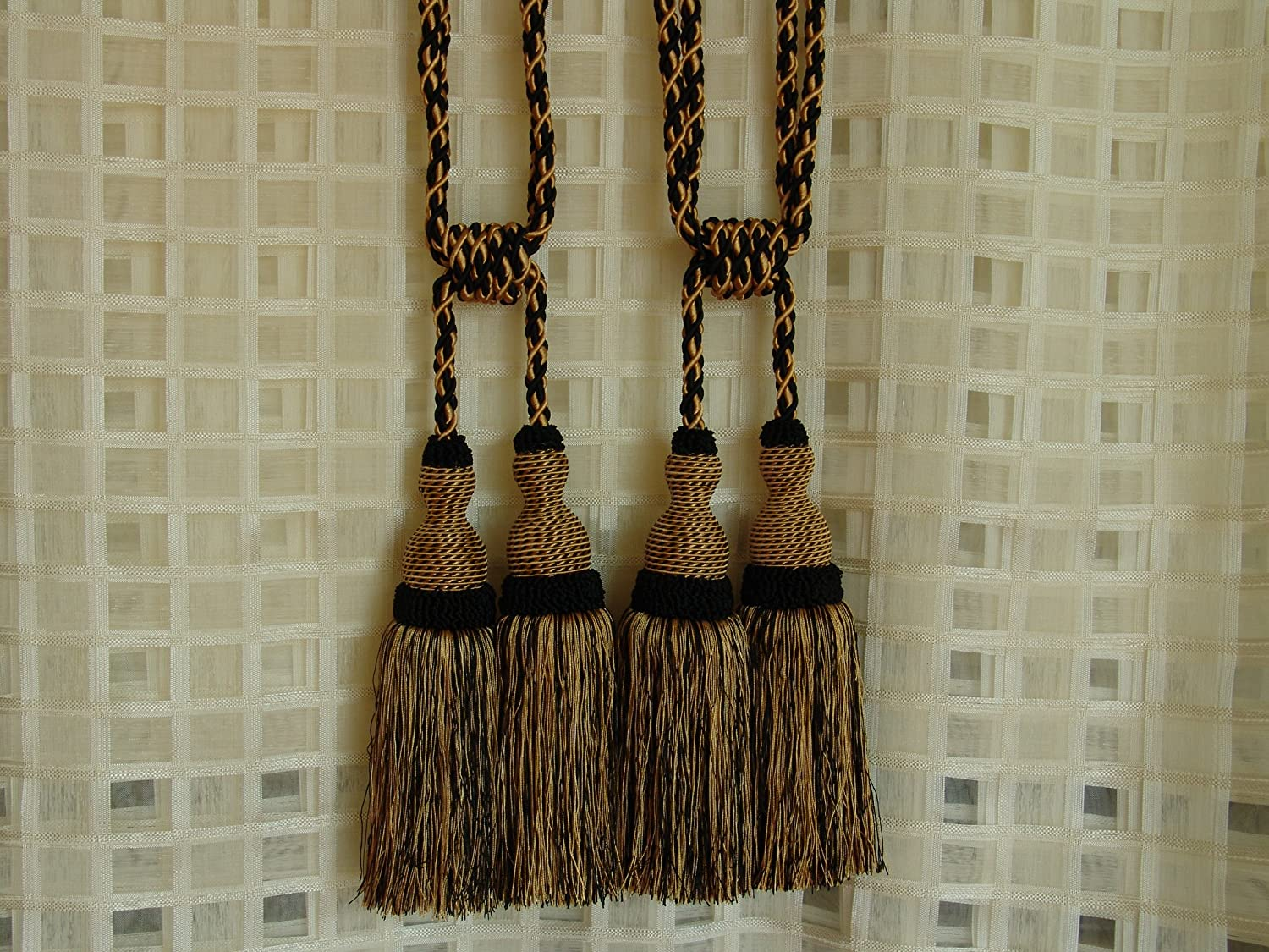 Set of 2 Vintage Drapery Tiebacks or Chair Tie Black and Gold with Black Tassel Ends Home Decor Upcycle Crafts