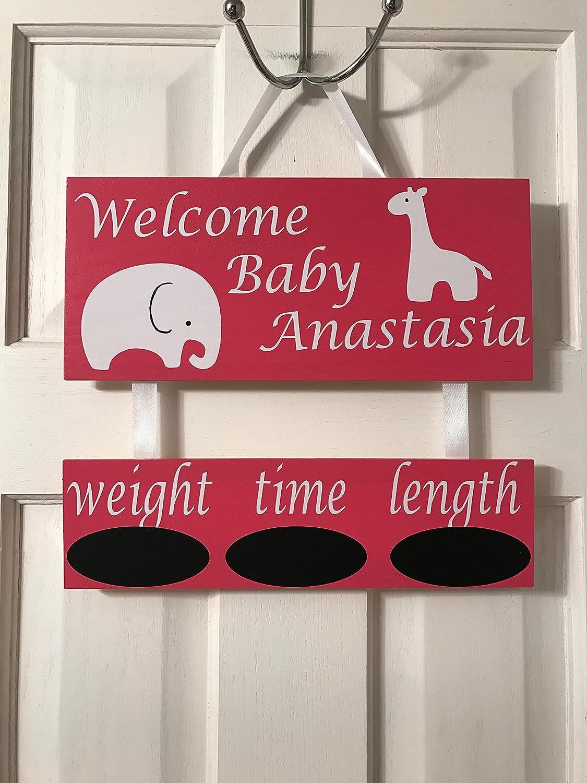 baby stat sign chic wreath Hospital door sign