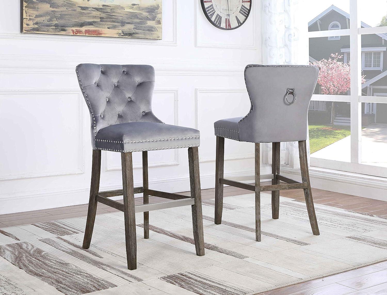Best Quality Furniture Velvet Barstool (Set of 2), Gray