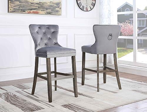 Quality Furniture Velvet Barstool Set of 2