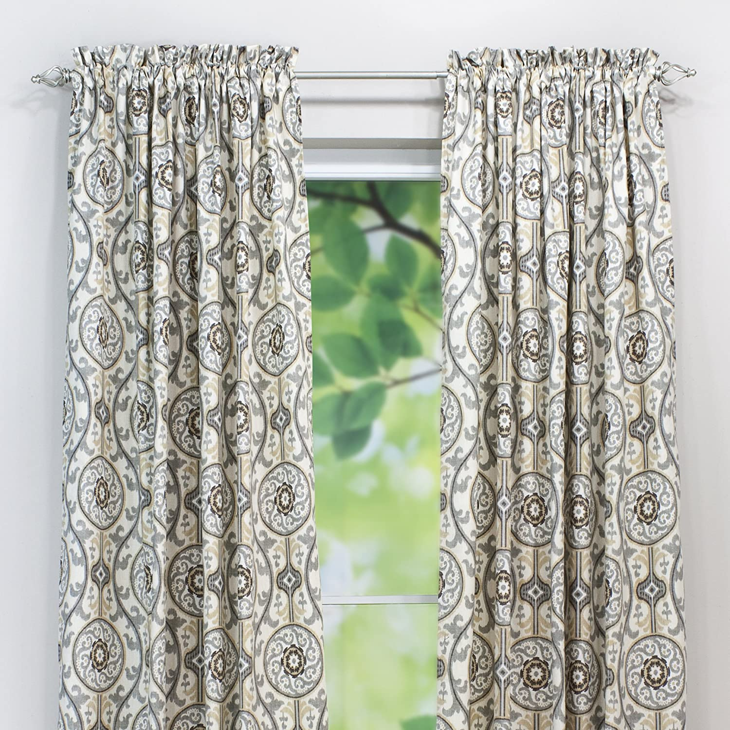 Brite Ideas Living /& Company Oh Suzani Metal 54 by 108-Inch Rod Pocket Curtain Panel for 1.5 to 2-Inch Rod