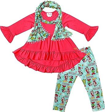Boutique Clothing Little Girls Magical Unicorn Cowgirl Hi-Low Tunic Leggings Scarf Set Purple Turquoise 5T//L