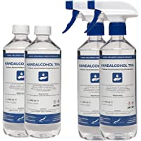 Hand Alcohol Desinfectie Spray 70% Gedenatureerd met IPA, MEK en Bitrex - 2x500 ml met spraykop + 2x500 ml met dop