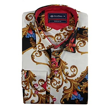 c95acc75269 Oscar Banks Mens Retro Designer Satin Silk Feel White Gold Floral Paisley  Dress Party Shirt