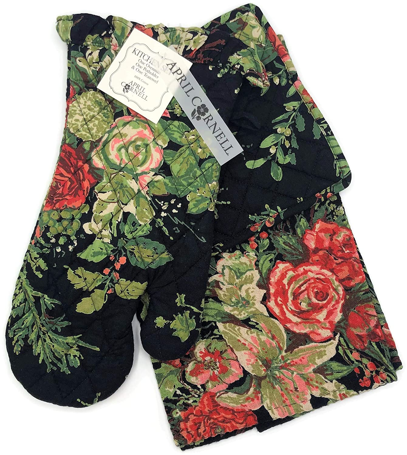 April Cornell Merry (Black) Floral Tea Towel, Oven Mitt & Potholder 3-Piece Kitchen Set, Christmas Bouquet Pattern with Sprigs of Pine and Holly