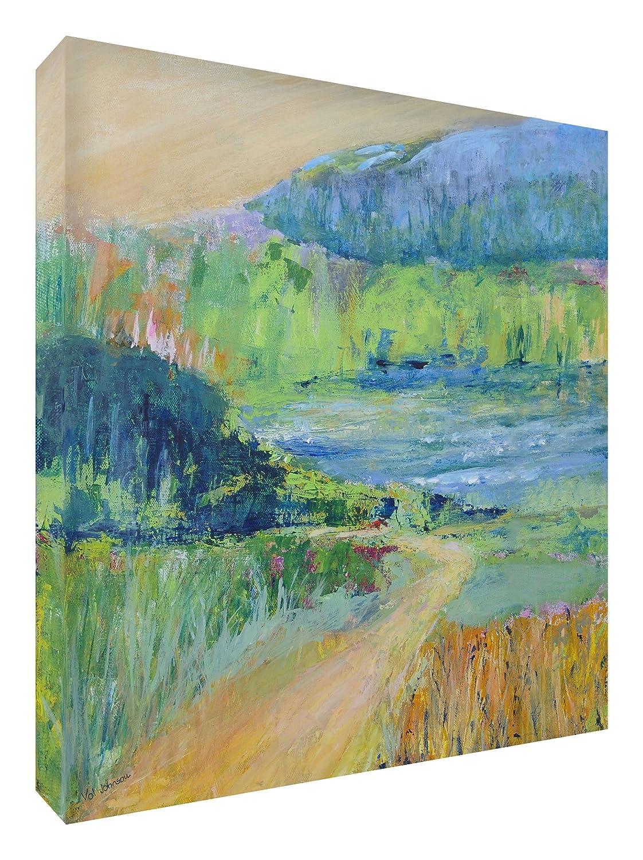 Feel Good Art Leinwand leuchtenden Farben gehören des Künstlers Val Johnson Bereich des Landschaft 96x 96x 4cm Größe XXL