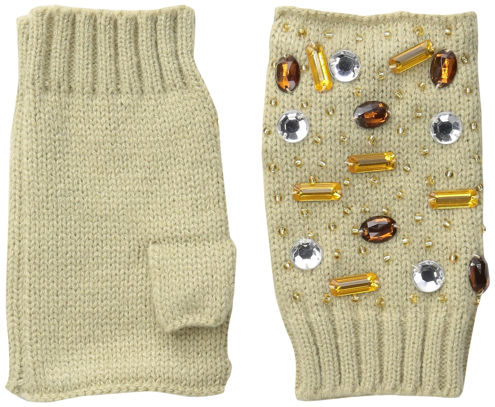 San Diego Hat Company Women's Fine Knit Fingerless Gloves with Gems, Camel, One Size