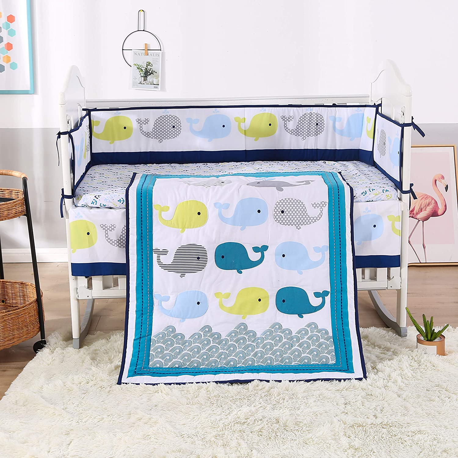 Wowelife Whale Baby Crib Bedding Set 7 Piece Blue Ocean, Nautical and Anchors Nursery Crib Set(Blue Whale)