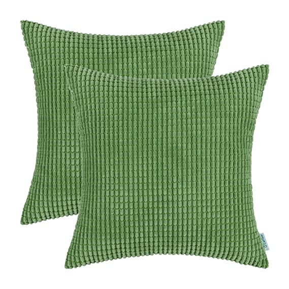 Review CaliTime Pack of 2 Comfy Throw Pillow Covers Cases for Couch Sofa Bed Comfortable Supersoft Corduroy Corn Striped Both Sides 26 X 26 Inches Forest Green
