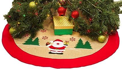 rustic burlap christmas tree skirt 36 country xmas tree decor skirts happy santa - Country Christmas Tree Ornaments