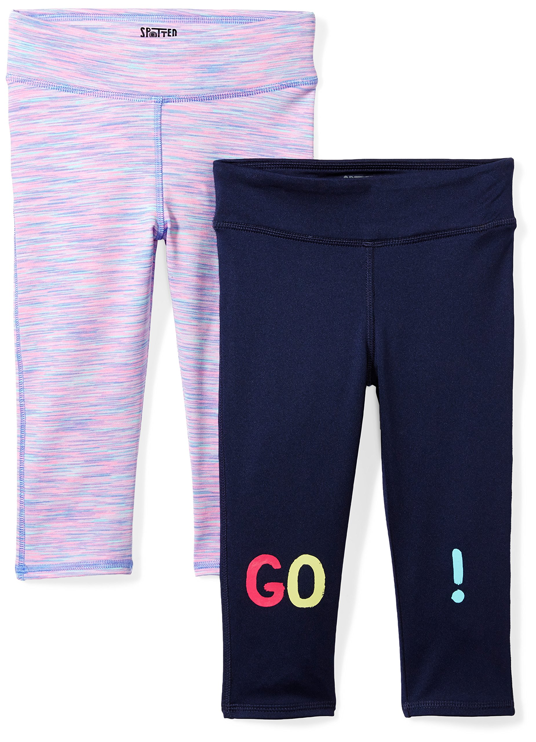 Amazon Brand - Spotted Zebra Girls' Big Kid 2-Pack Active Capri Legging, Go!, XX-Large (14)