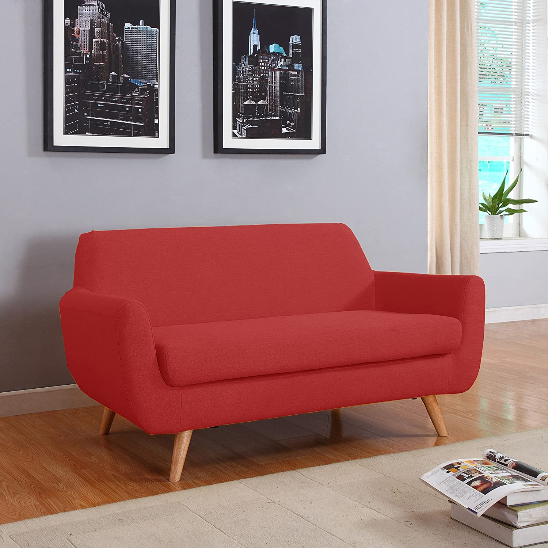 Amazon Mid Century Colorful Linen Fabric Sofa Loveseat in