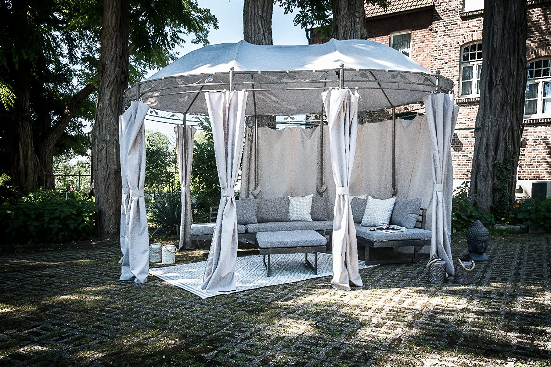 "tendone padiglione da giardino grigio chiaro 3 x 4 m greemotion Gazebo tenda giardino impermeabile modello /""Nancy/"" struttura acciaio gazebo rotondo giardino"