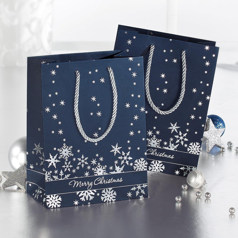 Silver Snowflakes SIGEL GT110 Paquete de 3 bolsas para regalos de Navidad Premium grande 26 x 33 x 12,5 cm