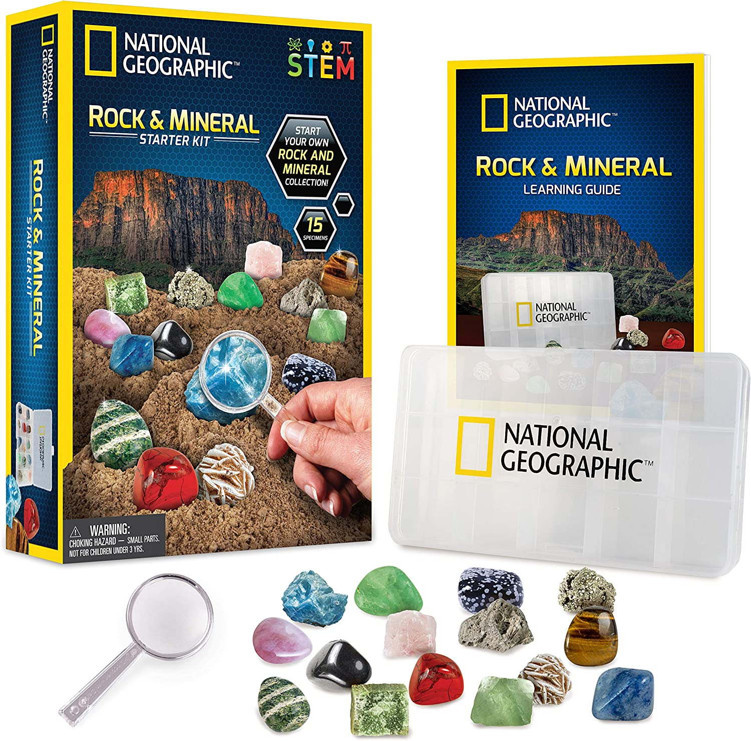 NATIONAL GEOGRAPHIC Rocks and Minerals Education Set – 15-Piece Rock Collection Starter Kit with Tiger's Eye, Rose Quartz, Red Jasper, and More, Display Case and Identification Guide