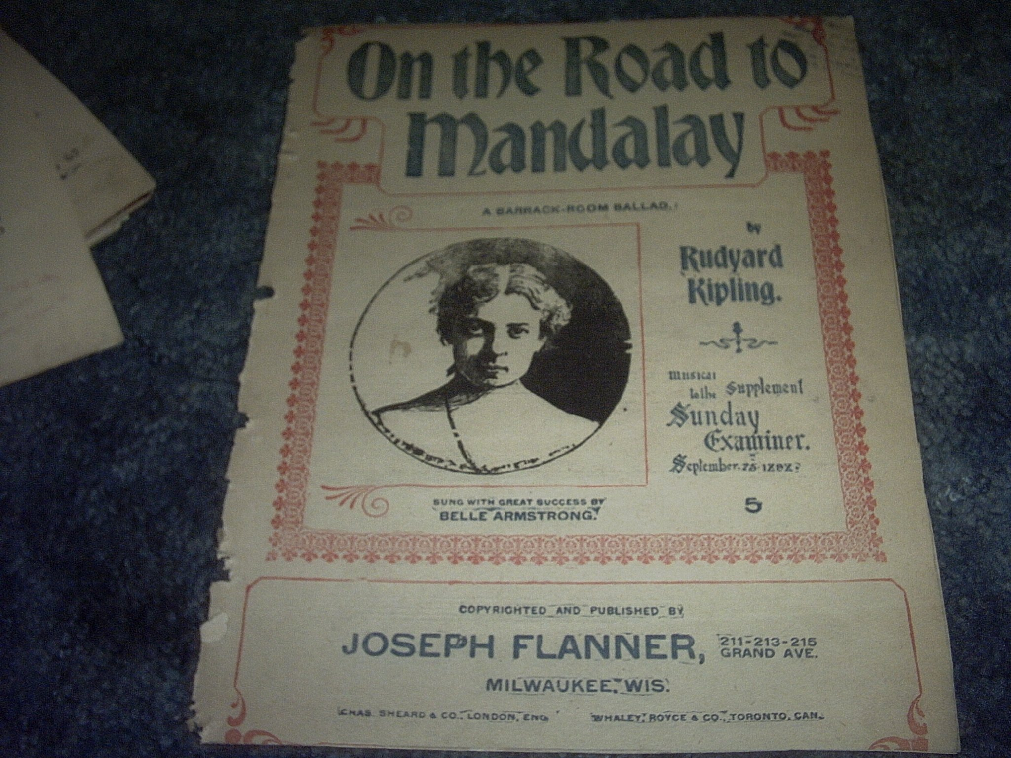 on the road to mandalay sheet music belle armstrong