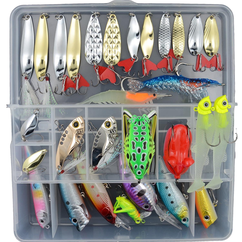 AGadget釣りタックル混合ロットルアーハードソフトプラスチック釣り餌with Minnow Popper Crankbaitsスプーン両方海水と淡水 B01D2WTUJ4  30PCS/Box