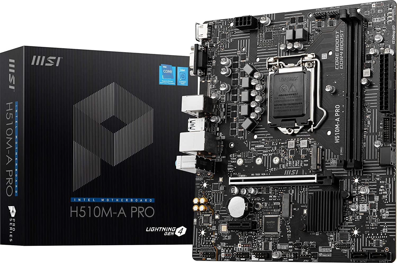 MSI H510M-A PRO ProSeries Motherboard (mATX, 11th/10th Gen Intel Core, LGA 1200 Socket, DDR4, PCIe 4, M.2 Slot, USB 3.2 Gen 1, 2.5G LAN, D-SUB/HDMI)