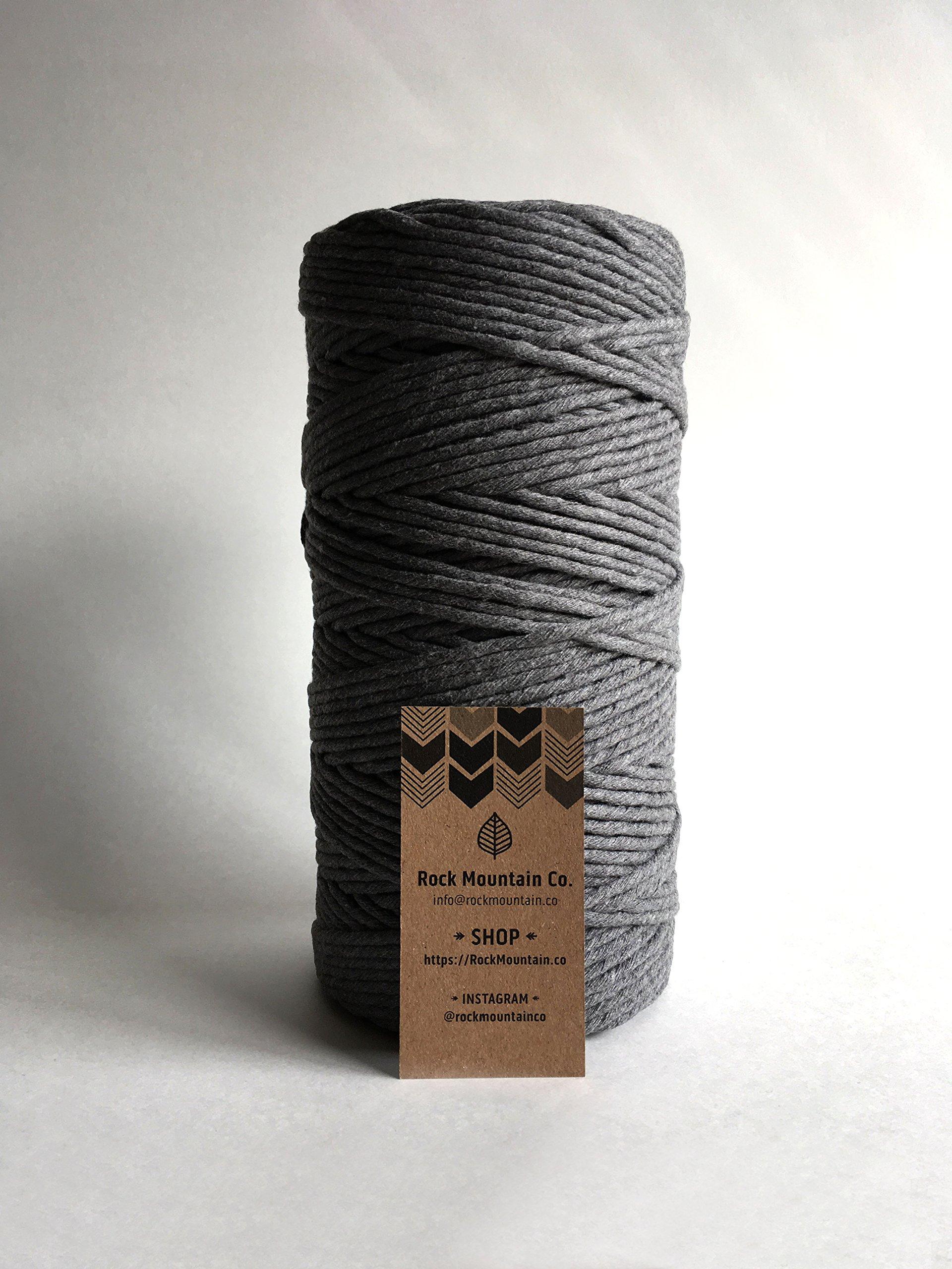 Gray Macrame Cord / 4mm Single Strand Cotton Fiber Art Rope/Earl Gray/Charcoal by Rock Mountain Co (Image #5)