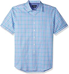 8baa743c Bugatchi Men's Slim Fit Periwinkle Printed Point Collar Short Sleeve Shirt