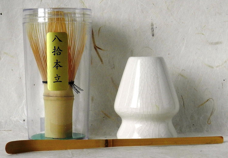 Matcha Stater Set / a handmade matcha bamboo whisk, a ceramic whisk stand (handmade Beakja) and a matcha bamboo spoon from Korea GoGo