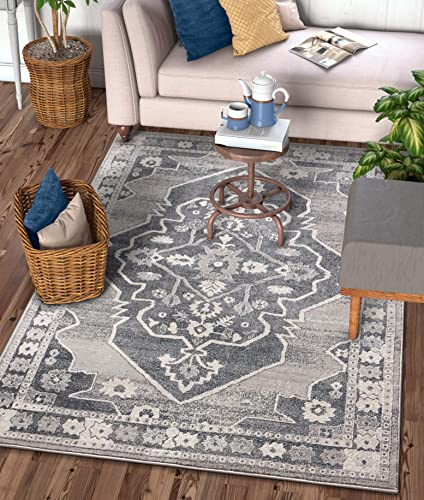 Well Woven Stanza Grey Microfiber High-Low Pile Vintage Abstract Erased Medallion 8×10 7'10″ x 9'10″ Area Rug Modern Serapi Ethnic Tribal Floral Carpet