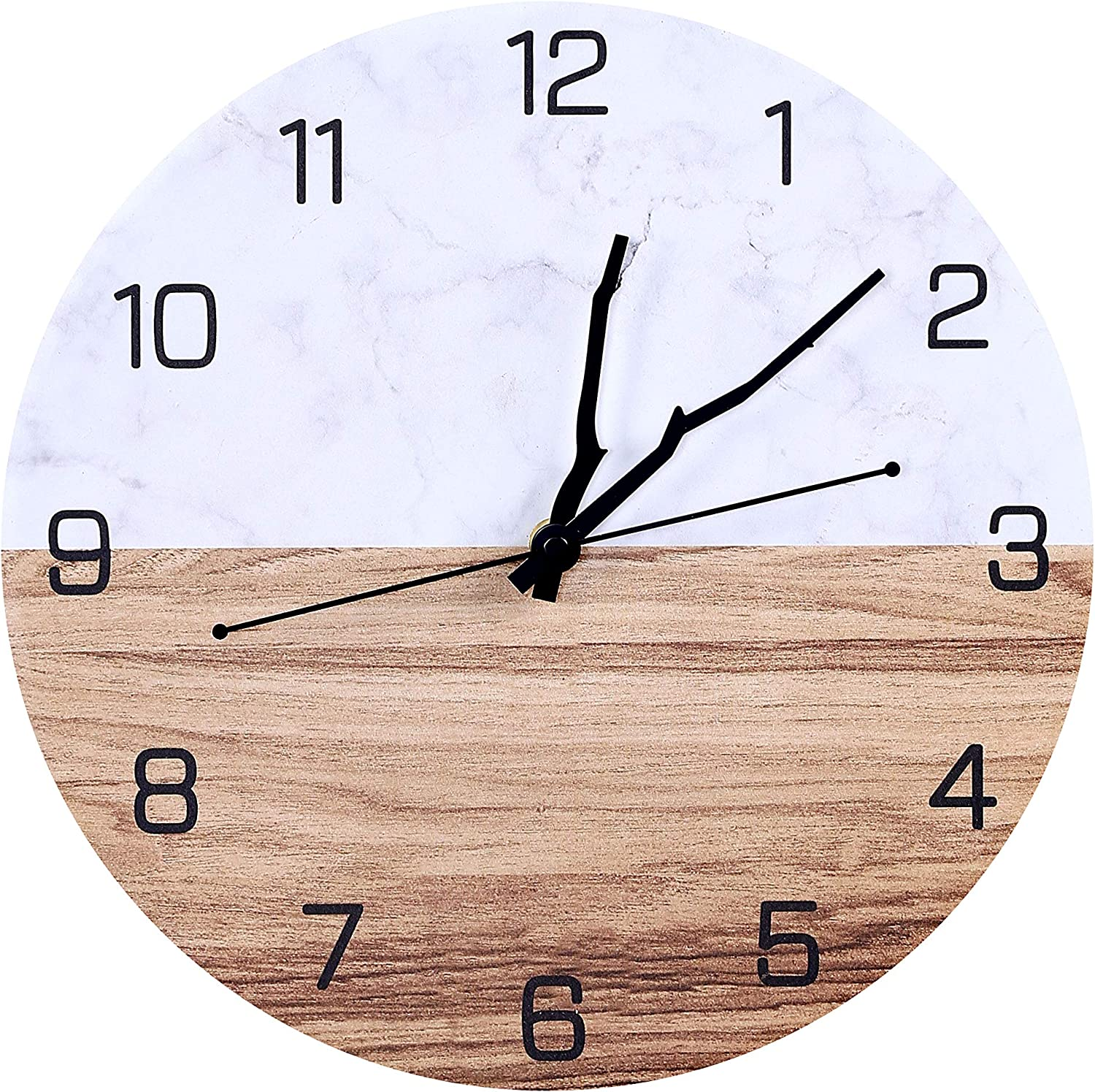 Modern Marble Wall Clock-12 Inch Silent Quartz Non-Ticking Decorative Wall Clocks for Living Room Home,Office,School,Bedroom,Battery Operated (02)