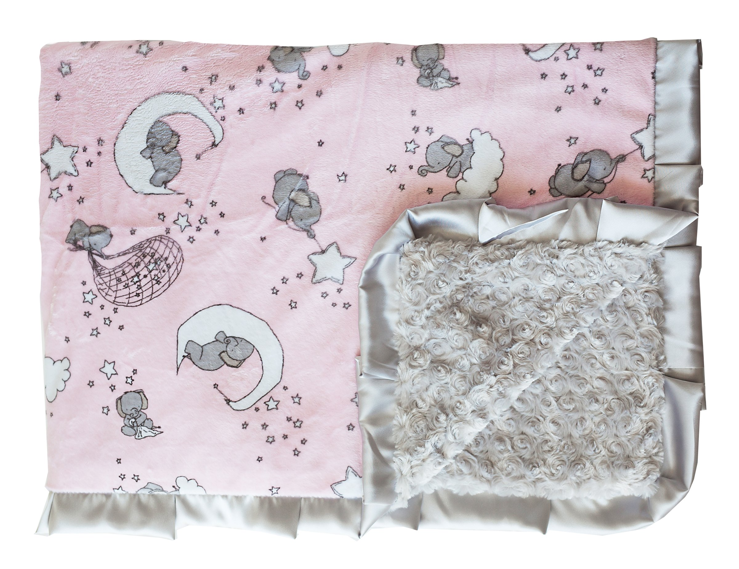 Minky Couture Printed Premium Blanket - Soft, Warm, Cozy, Comfortable, (Tween, Pink Moon)