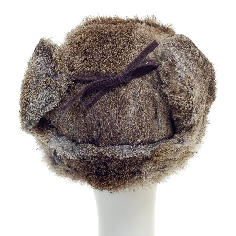 371600eba3142 ... Surell Rabbit Fur Ushanka Trapper Hat - Fluffy Warm Russian Fur Winter  Cap ...